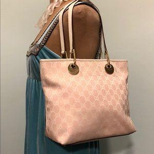 Authentic Gucci Guccissima Pink & White Tote Bag